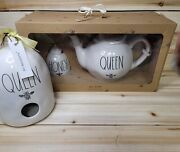 Rae Dunn Queen Bee Teapothoney Bee Pot And Stick With Queen Birdhouse4 Pc New