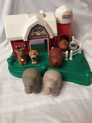 Vintage Little Tikes Zoo Farm Barn Stable W Silo And 4 Animals Vg Cond. Rare