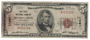 U.s. Beverly Hills Ca - Series Of 1929 5.00 National Currency Banknote