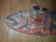 3ft Antique Carved Wood Trade Sign Fish Monger Double Sided Advertising Seafood