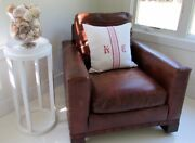 Crate And Barrel Leather Club Chair Hand Crafted High End Cognac Brown Excellent