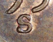 1955 S Lincoln Wheat Penny - Repunched Mint Mark Wrpm-003 And Rev Die Break Error
