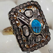 Victorian 2.43cts Rose Antique Cut Diamond Turquoise Silver Wedding Ring Jewelry