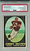 1958 Topps Football 62 Jimmy Brown Rookie Card Psa Authentic Altered
