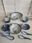 Lot Of 10. 2 Imari Bowls Bamboo Design. 4 Spoons. 4 Var Blue And White Dishes.used