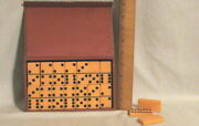 Awesome Vintage Butterscotch Catalin Bakelite Dominoes - 28 In Hard Case