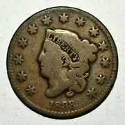 1833 Coronet Head Large Cent ✪ Fine F ✪ 1c L@@k Now Scarce Date Coin ◢trusted◣