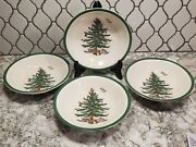 Set Of 4 Spode Christmas Tree Cereal Oatmeal Soup Dinner Bowls 6.25 New Openbox