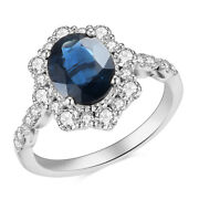 2.03ct Blue Sapphire Oval Gemstone 14k White Gold Real Diamond Victorian Ring