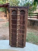18th C Vintage Brass Iron Fitted Handcrafted Wooden Indian Castle Window Door