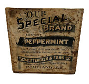 Schlotterbeck And Foss Vintage Peppermint Extract Wooden Crate