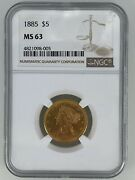 1885 5 Ngc Ms63 Liberty Head Gold Eagle Coin Slab Graded