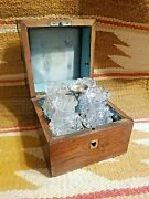 Rare 1800s French Perfume Wooden Caddy Box W 4 Crystal Scent Bottles And Funnel