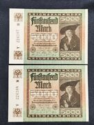 Germany Paper Money -- 1922 Reichbanknote 5000 P-81a Two Banknote In Series Unc