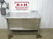 48 X 30 Stainless Steel Heavy Duty Work Table Two 2 Door Kitchen Cabinet 4'