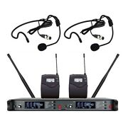 Professional Dual Headset Wireless Microphone Set Two Channel Uhf Dynamic Mikes