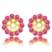 1.08 Ct Round Cut Pink Sapphire Earring Jackets Stud 14k Yellow Gold