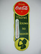 Coca-cola Soda Porcelain Thermometer 5 X 18 On Green Background