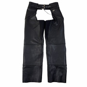 Harley Davidson Thick Leather Chaps Womens M Black Made In Usa Biking Motorcycle