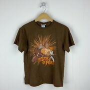 2001 Fruits Basket Fists Of Fury Vintage T-shirt Size Medium Brown Anime