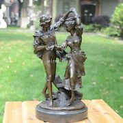 16and039and039 Bronze Art Sculpture Home Decorate Statue A Man And Girl Dance Statue