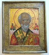 Russian Icon Of Mother Of St. Nicholas 19th Century Antique