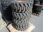 Set Of 4 Bobcat Heavy Duty Skid Steer Tires On Rims 12-16.5 Nhs Will Fit Many