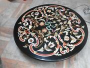 30and039and039 Marble Inlay Table Top Pietra Dura Home Garden Antique Coffee Decor B72