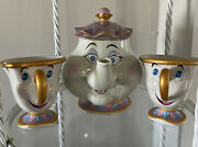 Disney Beauty And The Beast Mrs. Potts Cermaic Teapot And Two Chip Tea Cups Nwt