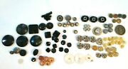 Victorian Art Deco Buttons Lot Rhinestone Shell Glass Clover Antique Vintage