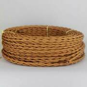 Gold Antique Look Twisted Cloth Covered Lamp Wire 25 Foot Roll