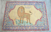 Primitive Lion Pattern Rug Hand Knotted Turkish Area Rug Wall Rug - 4and03910 X 6and03911