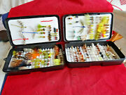2x Vintage Danica Plastic Fly Boxes + Good Collection Of Approx 150+ Good Flies