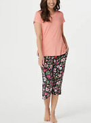 Cuddl Duds Comfort Short Sleeve Tee And Cropped Pant Pj Set - Small - Select Color