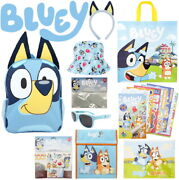 Bluey - Full Size Backpack 90 Stickers Lunch And Tote Bag Sunglasses Headband+