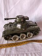 Tin Toy Vintage Gama Tank Made In Germany Tow Truck Tank
