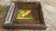 Vintage Still Life Fruits Oil Painting On Canvas Heavy Frame