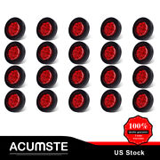20 Marker Side Light Red 9 Led Clear Round 2 Flower Shape Accent Rubber Gromme