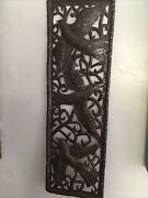 Vintage Old World Hand Cut Huwn Hammered Iron Copper Bird Plague Wall Hanging