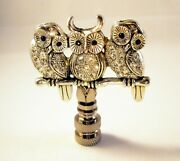 Lamp Finial-owls On Branch-antique Silver Finish Rhinestone Encrusted