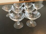 Set Of 8 Beautiful Vintage Heisey Chintz Clear Low Sherbet Glassware 4andrdquo Tall
