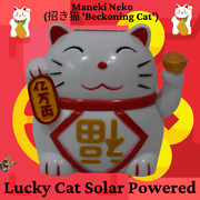 3.5 H White Lucky Cat Solar Powered Waving Arm For Money 4' W X 3 D
