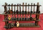 Collection Of 28 Smoking Pipes With Exhibitor. Multiple Brands. Circa 1960.
