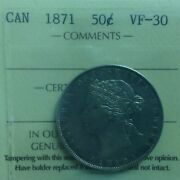 1871 - Fifty Cent - Iccs - Vf-30 - Canada - Vf-30