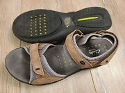 Clarks Wave Grip Brown Leather Walking Strappy Sport Sandal Shoes Womens Us 11 M