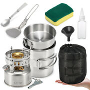 Lixada 9pcs Stainless Steel Camping Cookware Mess Kit With Gasoline Stove Z8v3