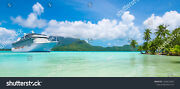 Cruise Boat On Tropical Island Ceramic Tile Sho9 Reverse Dot Mural 3x6 Ft And 4x8