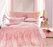 Pink Lace Luxury Wedding Bedding Set Queen King Size Bed Decorative Duvet Cover