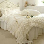 Bed Cover Beige Bedding Set Ruffle Lace Duvet Covers Bedding Bed Sheet Bedspread