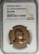 1894 U.s. Assay Commission Medal By Morgan And Barber Jk-ac-38 Copper Ngc Ms64